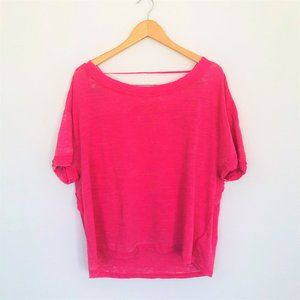 Free People Hot Magenta Over Sized Tee